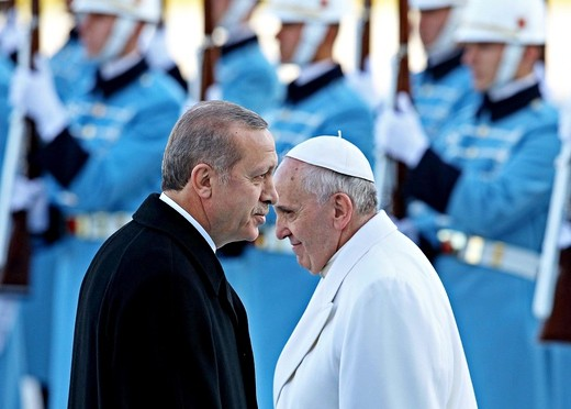Pope Francis, right, with Recep Tayyip Erdo?an, at the lavish £385m presidential palace in Ankara